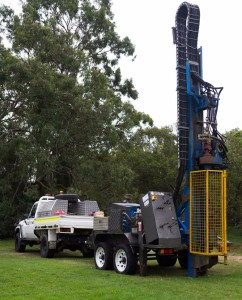 ID3300 Trailer mounted drilling rig with Land Cruiser 4x4 support vehicle